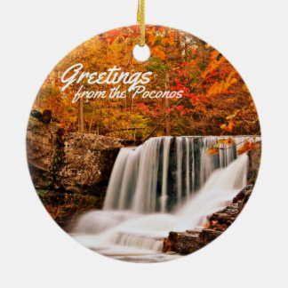 Greetings from the Poconos!Factory Falls in Autumn Christmas Ornament