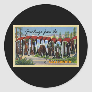 Greetings from the Redwoods of California Classic Round Sticker
