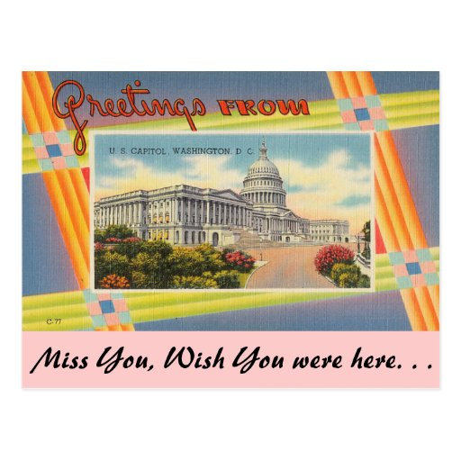 Greetings from  U.S. Capitol Post Card