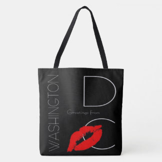 Greetings from Washington D.C. Red Lipstick Kiss Tote Bag