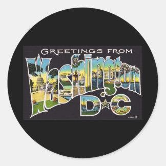 Greetings from Washington D.C. Round Sticker