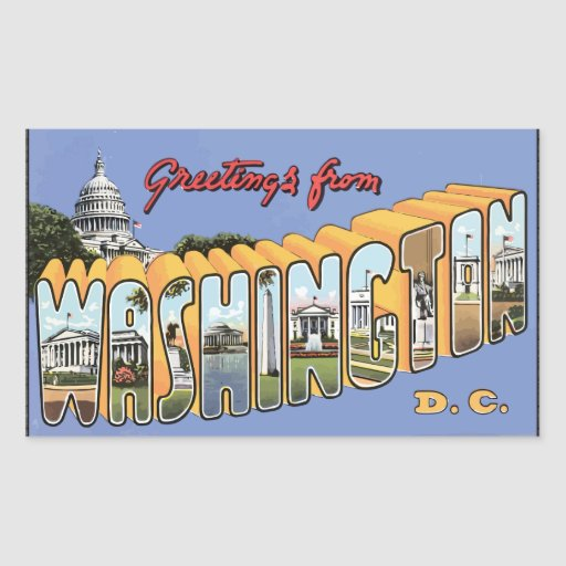 Greetings From Washington D.C., Vintage Rectangular Stickers