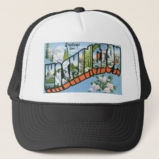 Greetings from Washington state! Vintage Post Card Trucker Hat