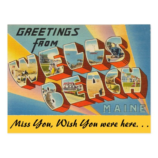 Greetings from Wells Beach Postcard