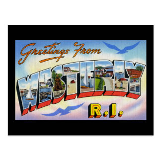 Greetings from Westerly Rhode Island Postcard