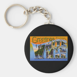 Greetings from White Mountains New Hampshire Basic Round Button Key Ring