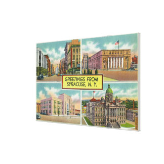 Greetings From with Scenic Views Stretched Canvas Prints