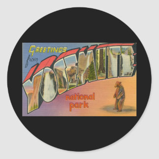 Greetings From Yosemite National Park Classic Round Sticker