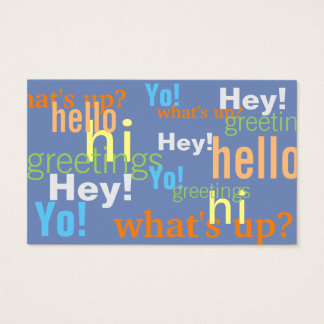 Greetings style text pattern cover business card