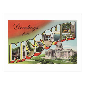 Greetins from Missouri Large Letter vintage theme Post Card