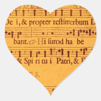 Gregorian chant music score heart sticker