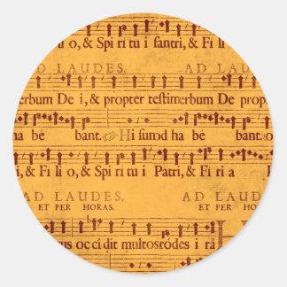 Gregorian chant music score round sticker