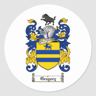 GREGORY FAMILY CREST -  GREGORY COAT OF ARMS CLASSIC ROUND STICKER