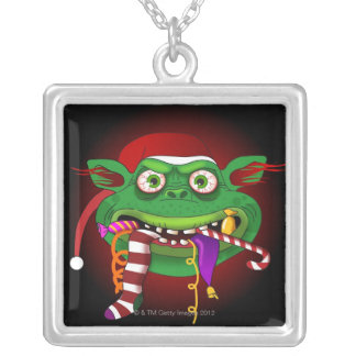 Gremlin Eating Candy Silver Plated Necklace