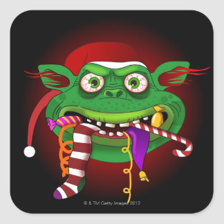 Gremlin Eating Candy Square Sticker