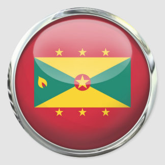 Grenada Flag Glass Ball Classic Round Sticker