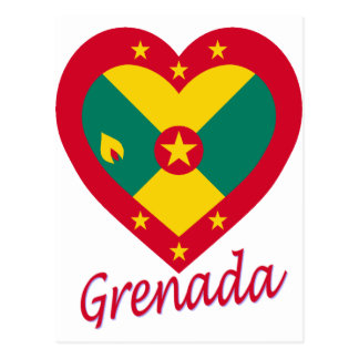 Grenada Flag Heart Postcard