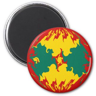 Grenada Gnarly Flag 6 Cm Round Magnet