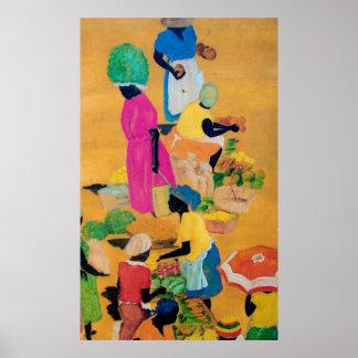 Grenada Market Scene Poster