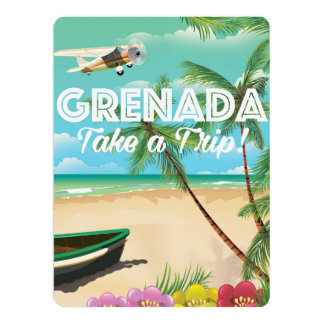 Grenada Vintage Vacation Travel Poster 17 Cm X 22 Cm Invitation Card