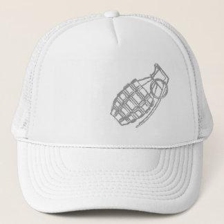 grenade on white cap