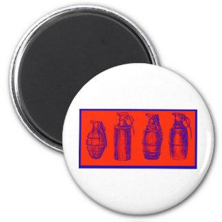 Grenades Red 6 Cm Round Magnet