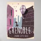 Grenoble France vintage travel poster