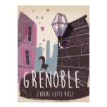 Grenoble France vintage travel poster