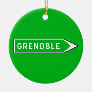 Grenoble, Road Sign, France Round Ceramic Decoration