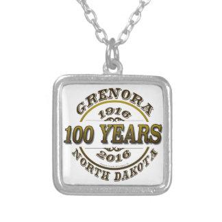 Grenora Centennial Memorabilia Square Pendant Necklace