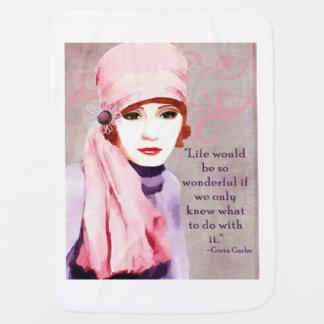 Greta Garbo Quote on Life Baby Blankets