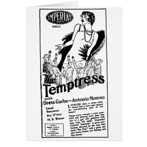 Greta Garbo Temptress 1926 Early U.S. Film Greeting Card