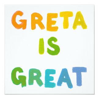 Greta is Great fun colorful name gifts happy art 13 Cm X 13 Cm Square Invitation Card