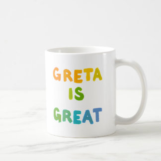 Greta is Great fun colorful name gifts happy art Basic White Mug
