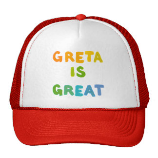 Greta is Great fun colorful name gifts happy art Cap