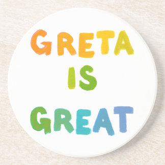 Greta is Great fun colorful name gifts happy art Drink Coaster