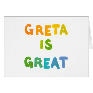 Greta is Great fun colorful name gifts happy art Greeting Card