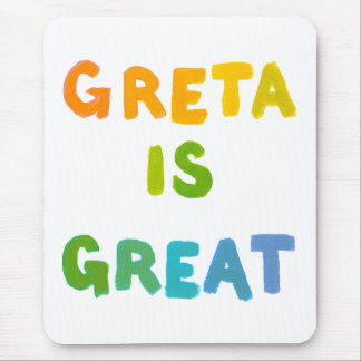 Greta is Great fun colorful name gifts happy art Mouse Pad