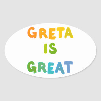 Greta is Great fun colorful name gifts happy art Oval Sticker