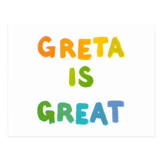 Greta is Great fun colorful name gifts happy art Postcard