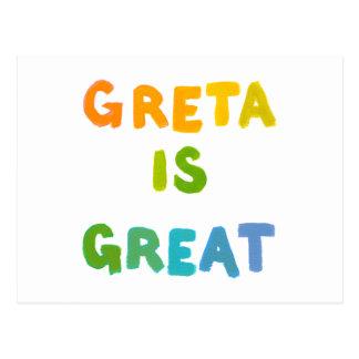 Greta is Great fun colorful name gifts happy art Postcard