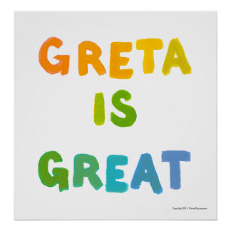 Greta is Great fun colorful name gifts happy art Poster