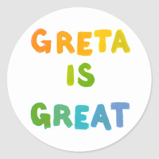 Greta is Great fun colorful name gifts happy art Round Sticker