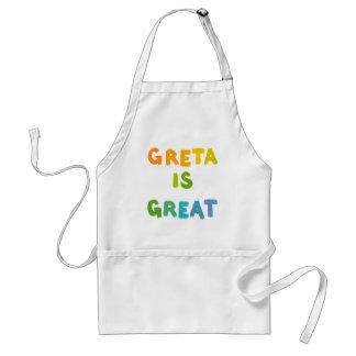 Greta is Great fun colorful name gifts happy art Standard Apron