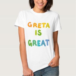 Greta is Great fun colorful name gifts happy art Tee Shirt