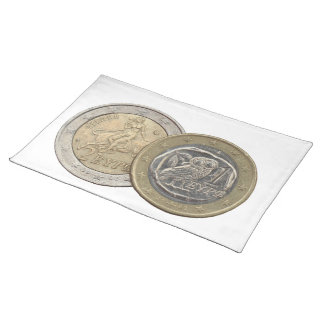 Grexit: soon to be rare greek euro coins placemat