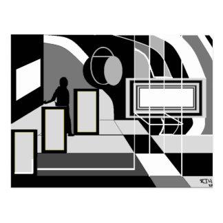 GREY ABSTRACT ART POSTCARD