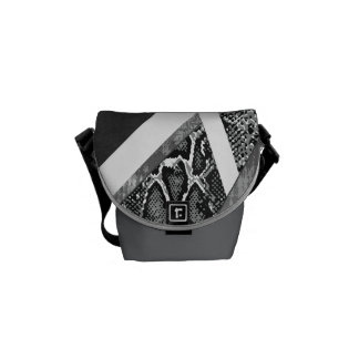 Grey Abstract Snakeskin Mini Messenger Courier Bags