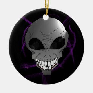 Grey alien Christmas tree ornament