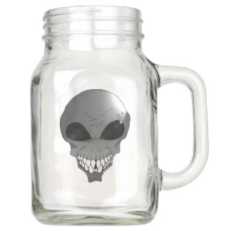 Grey alien  Mason Jar, with Handle (20 oz) Mason Jar